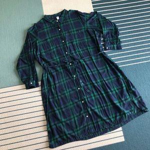 Blue & Green Flannel Tie-Waist Shirt Dress
